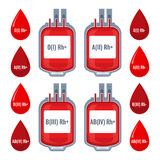 Drops with typed blood groups and donating donor service plastic bags Royalty Free Stock Images