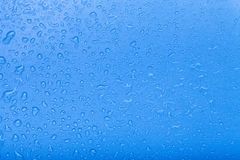 Drops of water on a color background. Blue. Selective focus. Sha Stock Photo