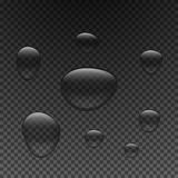 Drops of water of different sizes. Droplets of clear liquid on a dark transparent background. Stock Image
