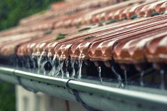Drops of water flow into the eaves Stock Photo