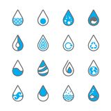 16 Drops water icon for design on white background set 1. Water icon for design with blue and grey color on white background.Water icon set for design logo Stock Photography