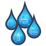 Drops of water for plumbing repairs. Drops of water for plumbing repair and maintenance vector Royalty Free Stock Photography