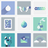 Drops of water. Set of design elements Stock Images