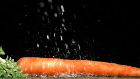 Drops of water in super slow motion falling on a carrot Royalty Free Stock Image