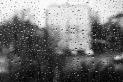 Drops of water on the window glass. Black and white. Black and white photo of droplets on the glass. Behind the glass building silhouette stock image