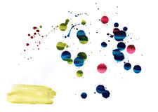 Drops of watercolor paint, spray aquarelle. Raster Royalty Free Stock Photo