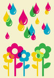 Drops watering flowers background Stock Photos