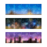 Drops on window glass. Seamless banners. Royalty Free Stock Photography