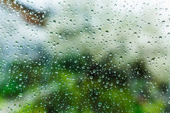 Drops on the window, wet glass Royalty Free Stock Photo