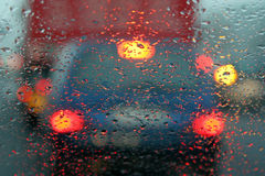Drops on windscreen. Water drops on a car windscreen Stock Image
