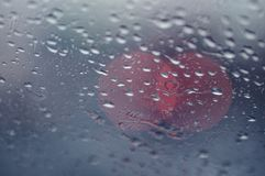 Drops on windscreen. Water drops on a car windscreen stock images