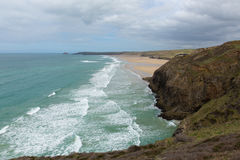 Droskyn Point and Perranporth coast North Cornwall England UK Stock Photography