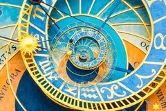 Free Droste Effect Background Based On Prague Astronomical Clock. Abstract Design For Concepts Related To Astrology And Fantasy Stock Photo - 208431680
