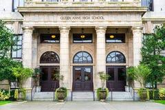 Drottning Anne High School Seattle Washington fotografering för bildbyråer