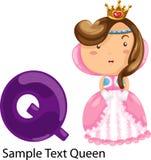 drottning för alfabetillustrationbokstav q Arkivfoto