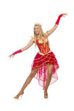 Drottning i den isolerade röda klänningen Fotografering för Bildbyråer