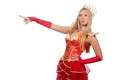 Drottning i den isolerade röda klänningen Arkivfoton
