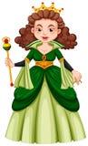 Drottning i grön kappa stock illustrationer