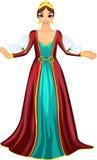 Drottning i röd klänning stock illustrationer