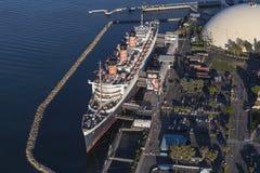 Drottning Mary Long Beach California Aerial Arkivbilder