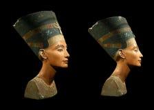 Drottning Nefertiti som isoleras på Black royaltyfria bilder
