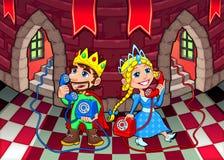 Drottning och konung på telefonen. royaltyfri illustrationer