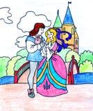 drottning s för slott för barnkonungmålarfärg Arkivfoto