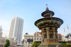Drottning Victoria Fountain på den Merdeka fyrkanten, Kuala Lumper Malaysia royaltyfri fotografi