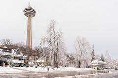 Drottning Victoria Park, Niagara Falls i vinter royaltyfria foton