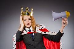 Drottningaffärsman med högtalaren Royaltyfria Bilder