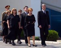 Drottningen Anne av Rumänien dör på 92 - ceremoni på Otopeni den internationella flygplatsen Royaltyfri Foto