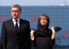 Drottningen Anne av Rumänien dör på 92 - ceremoni på Otopeni den internationella flygplatsen Arkivbild
