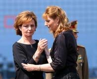 Drottningen Anne av Rumänien dör på 92 - ceremoni på Otopeni den internationella flygplatsen Arkivbilder