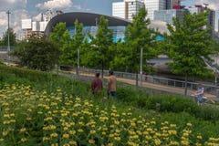 Drottningen Elizabeth Olympic Park med Aquatics centrerar, London royaltyfri foto