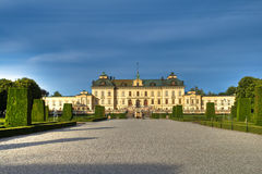 Drottningholm castle. And the garden in front royalty free stock photo