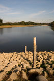 Drought. Welford reservoir is so empty that two measuring poles are fully revealed stock photos