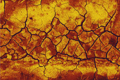 Drought. An image of arid earth altered in PS to appear blistering and smoldering from heat Stock Photography