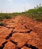 Drought. Dry soil field on hot summer sun royalty free stock image