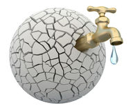 Drought. 3D concept with faucet and cracked earth Stock Images