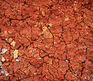Drought. Dry and cracked surface of the red soil terra rossa that is characteristic of karst (limestone) regions. Unsoluble remains of limestone dissolving in Royalty Free Stock Photo