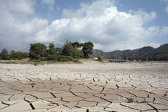 Drought affected area. With island of life Royalty Free Stock Photo