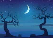 Drought area landscape at night with dead trees and a starry sky. Vector illustration Royalty Free Stock Images
