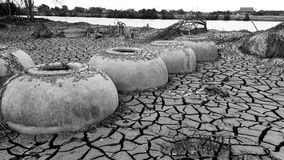 Drought. Broken soil landscape Stock Photos