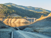 Drought caused empty reservoir Royalty Free Stock Photography