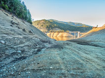 Drought caused empty reservoir Royalty Free Stock Photo