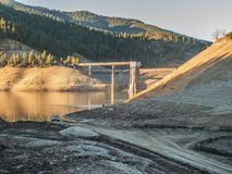 Drought caused empty reservoir stock photos