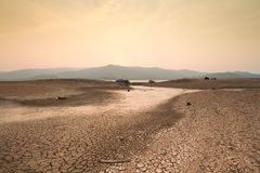 Drought and Climate change scene of dried river Royalty Free Stock Image
