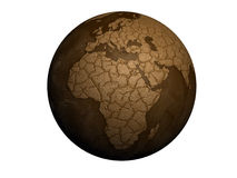 Drought earth. Globe isolated on white background Stock Photography