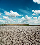 Drought earth and dramatic sky Stock Photography