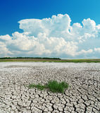 Drought earth under clouds Stock Images